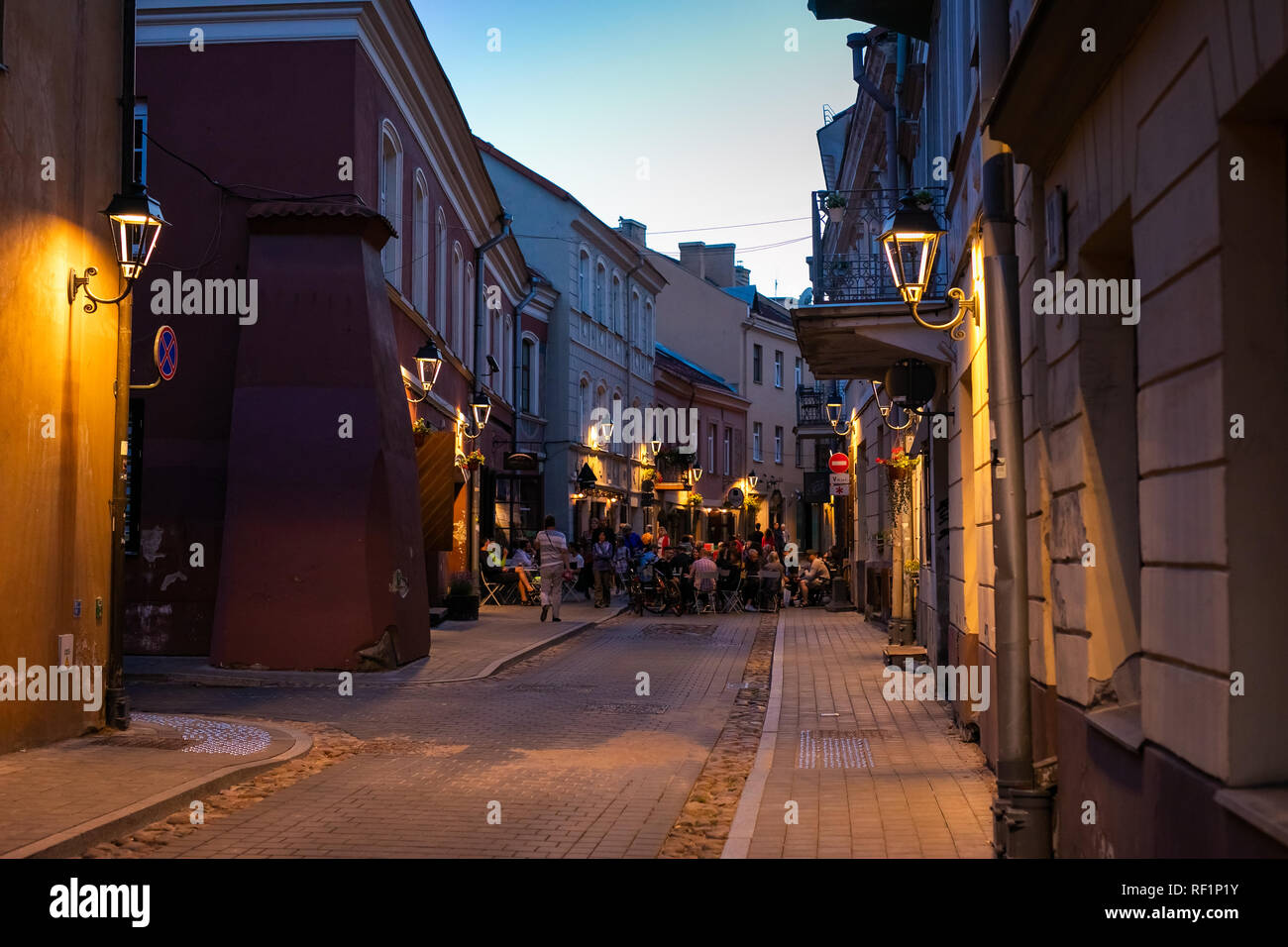 Street in Old Town at night of Vilnius, Lithuania, Baltic states. - Stock Image