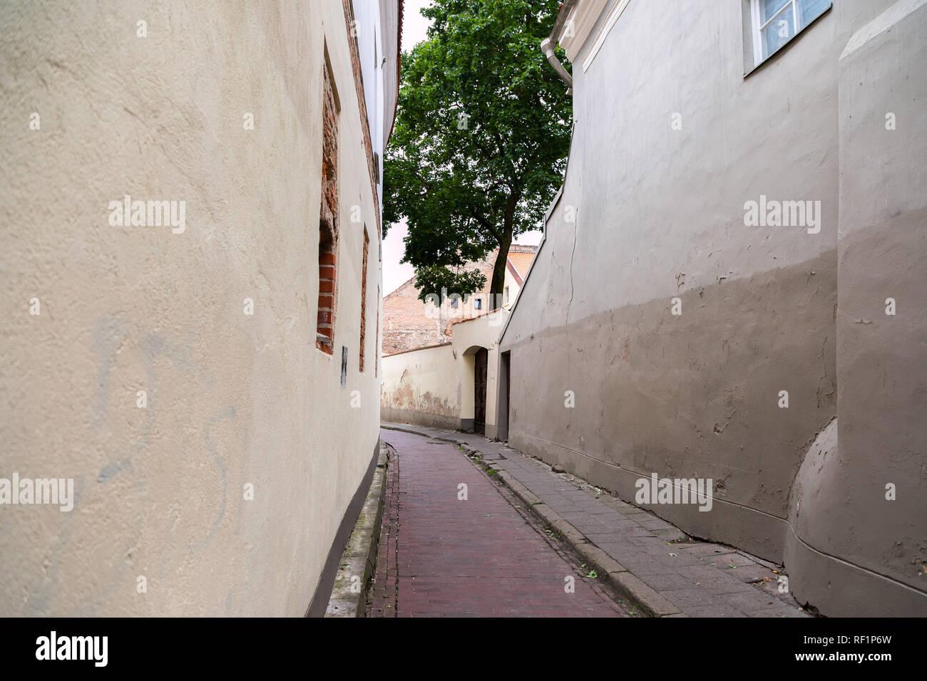 Vilnius old town street, Lithuania - Stock Image