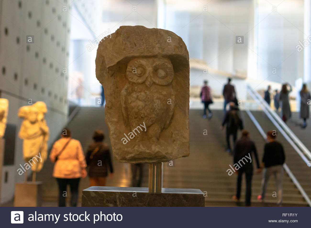 The owl is the symbol of Athens & the original sculpture can be found in the Acropolis Museum. It is awesome. - Stock Image