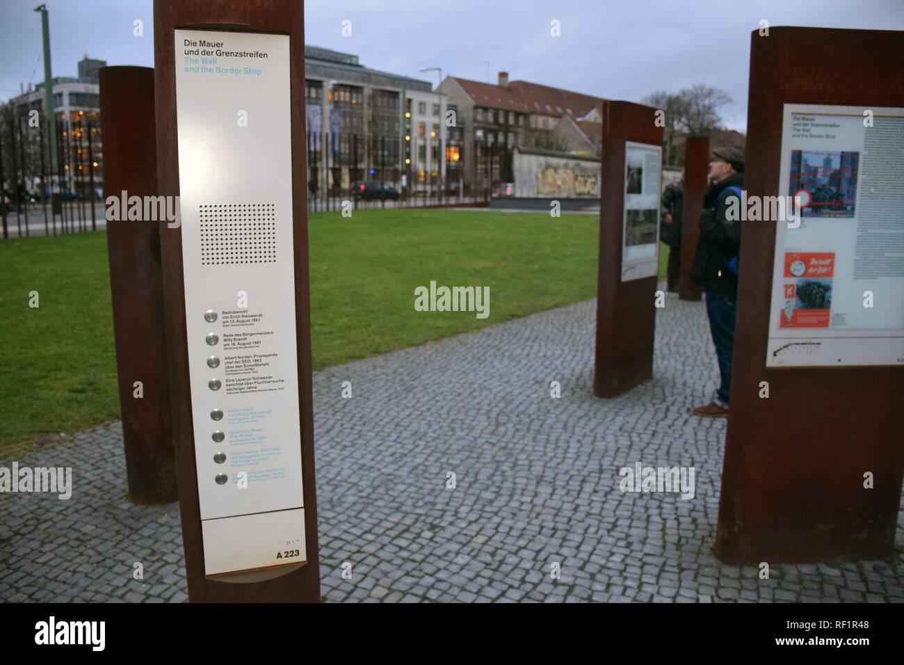 Bernauer Stasse, Berlin, 1.4km stretch of original Wall. Germany January 2019 - Stock Image