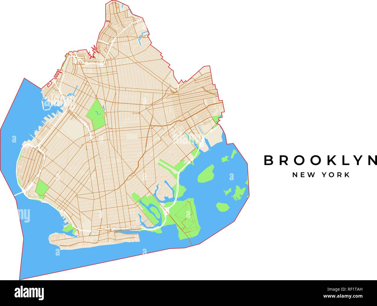 brooklyn new york map usa Vector Map Of Brooklyn New York Usa Various Colors For Streets brooklyn new york map usa
