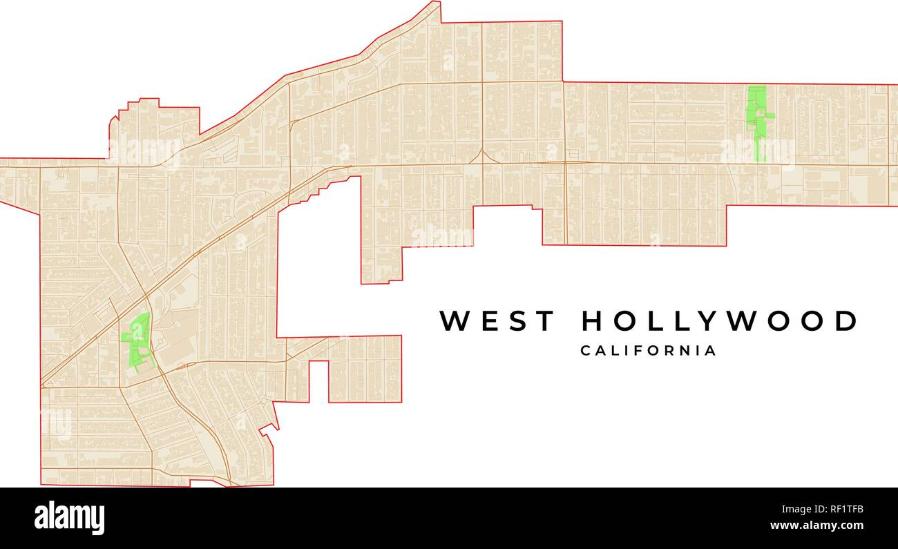 California Map Hollywood.Vector Map Of West Hollywood California Usa Various Colors For