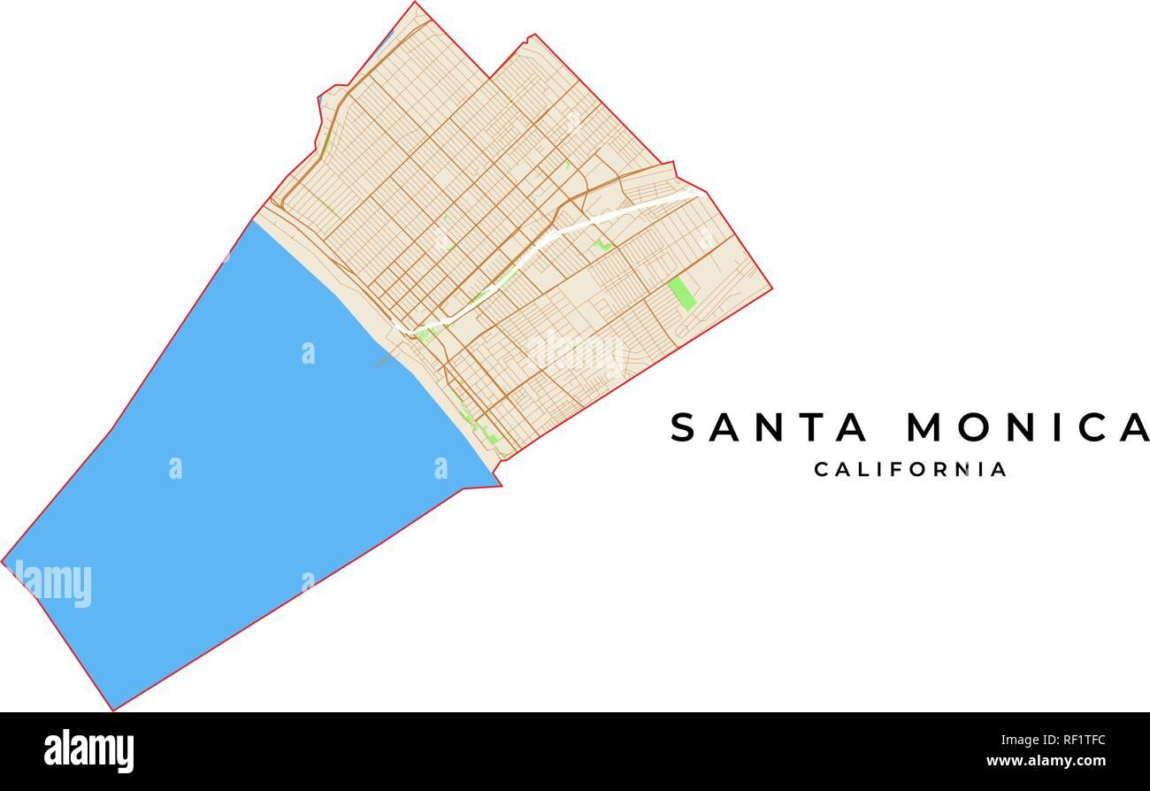 Vector map of Santa Monica, California, USA. Various colors ...