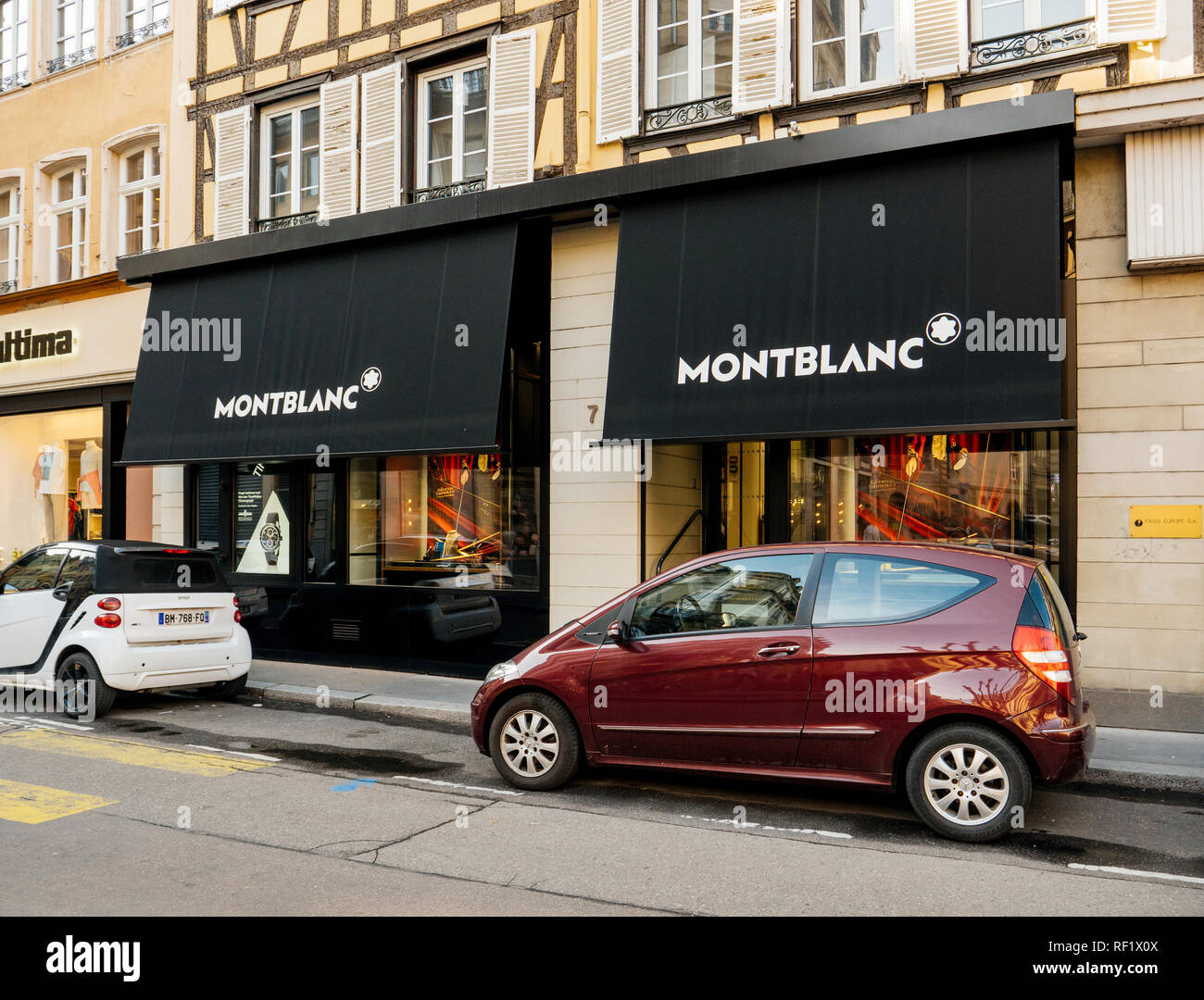STRASBOURG, FRANCE - 13 MAR, 2018: Luxury Montblanc watch store in Strasbourg with facade  showing elegant model of watches  - Stock Image