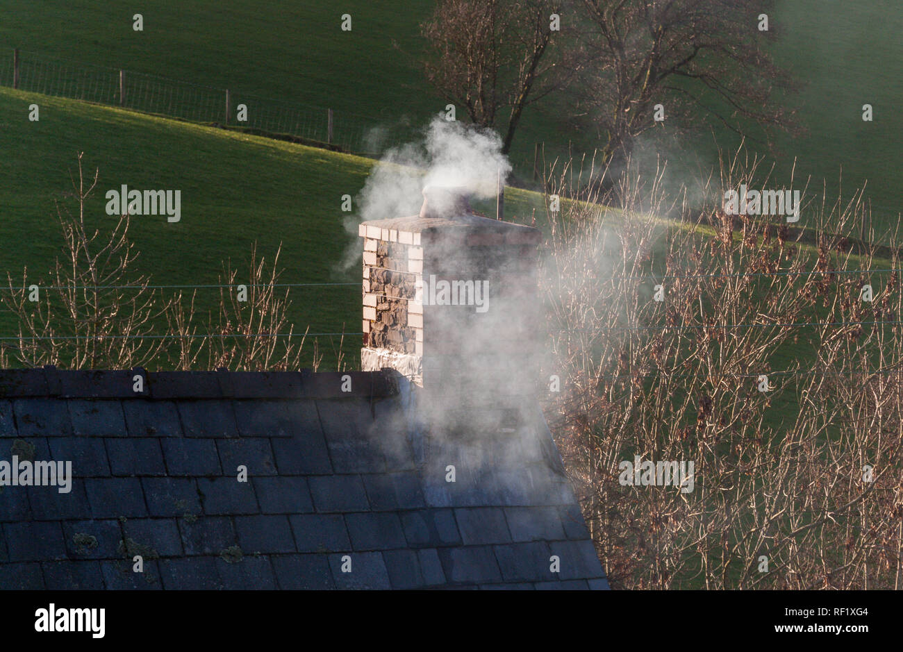 Smoke from a domestic chimney - Stock Image