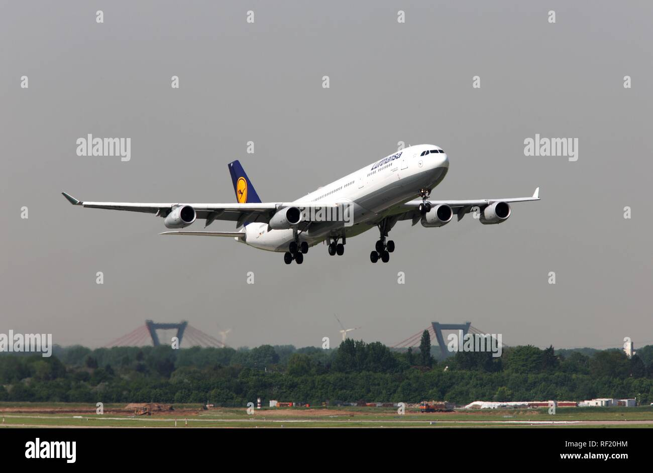 Lufthansa Airbus A340, one of three large-capacity aircraft stationed in Duesseldorf since May 2008 for connections to Canada - Stock Image