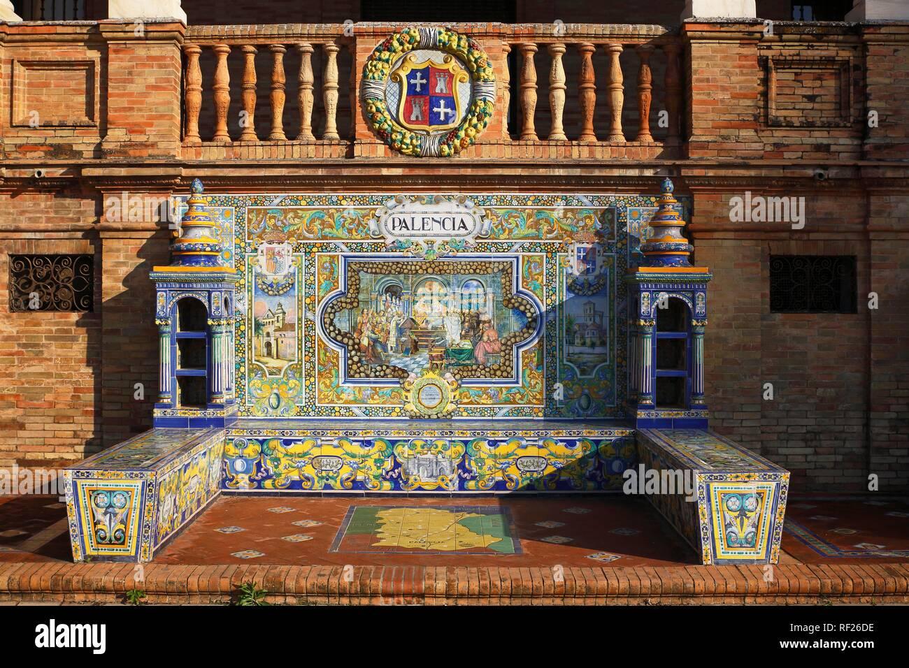 Mosaic picture of the province Palencia from Azulejo tiles, Plaza de España, Sevilla, Andalusia, Spain - Stock Image