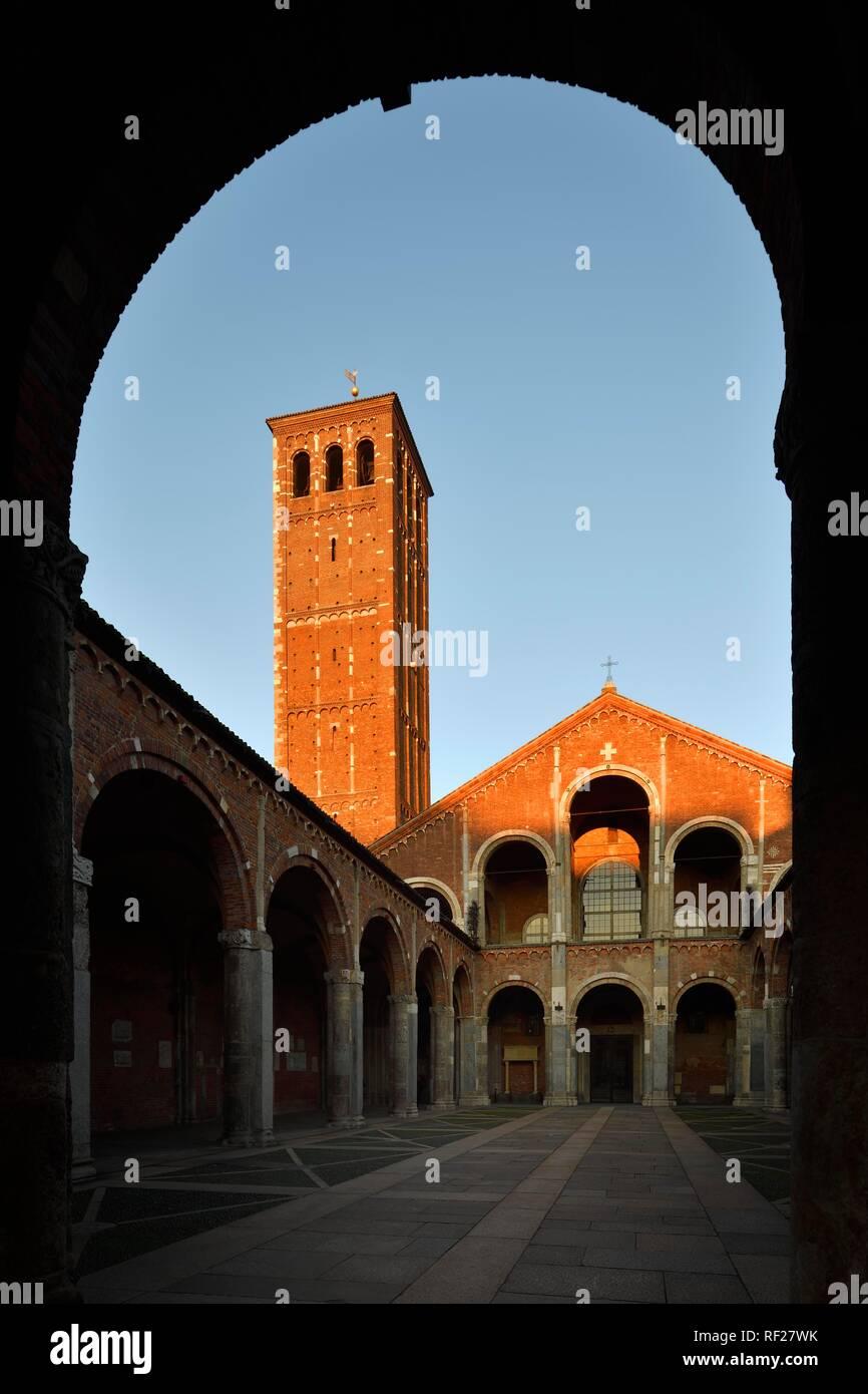 Courtyard, Early Christian Church, Basilica Sant'Ambrogio, Milan, Lombardy, Italy Stock Photo
