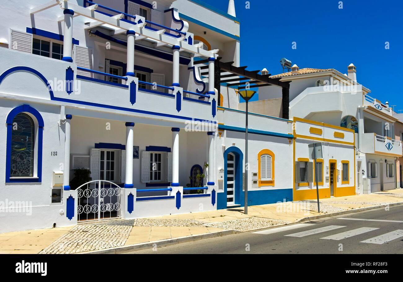 Typical residential buildings, Santa Luzia, Algarve, Portugal Stock Photo