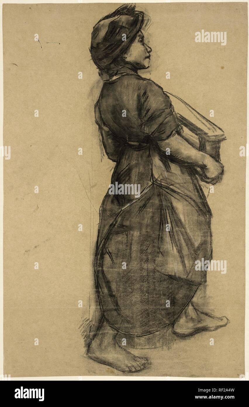 Maid at a brick factory. Draughtsman: Anthon Gerhard Alexander van Rappard. Dating: c. 1880 - c. 1890. Measurements: h 776 mm × w 500 mm. Museum: Rijksmuseum, Amsterdam. Stock Photo