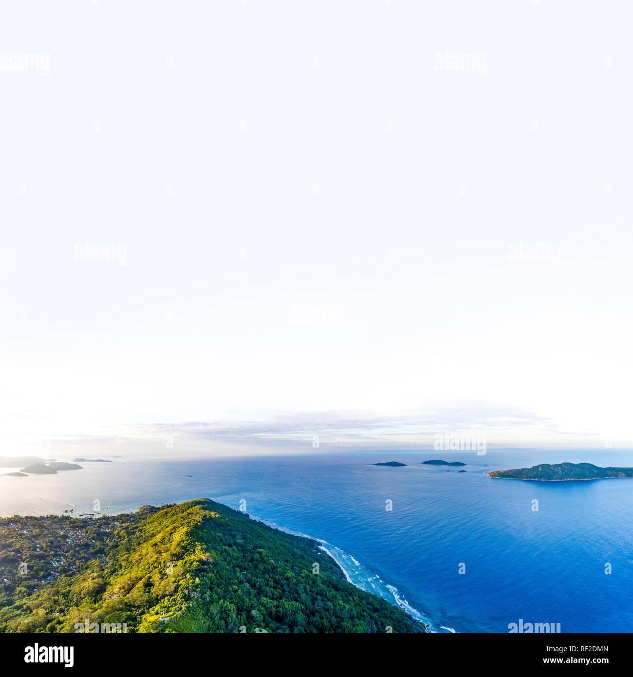Seychelles, La Digue, Aerial view of Indian Ocean - Stock Image