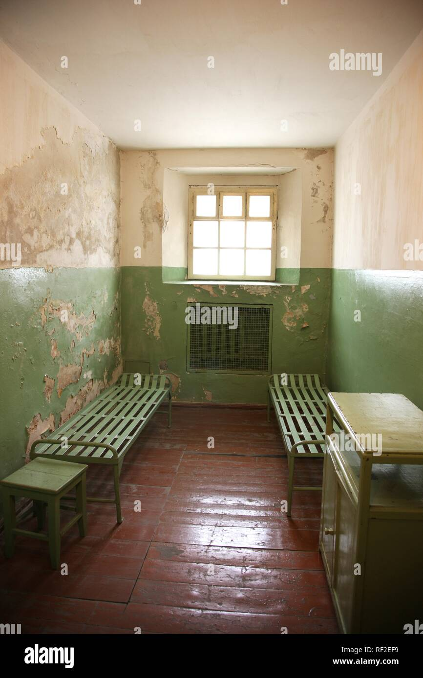 Cell in the KGB Museum, Genocide Museum, dealing with the periods of German and Soviet occupations and genocide, Vilnius - Stock Image