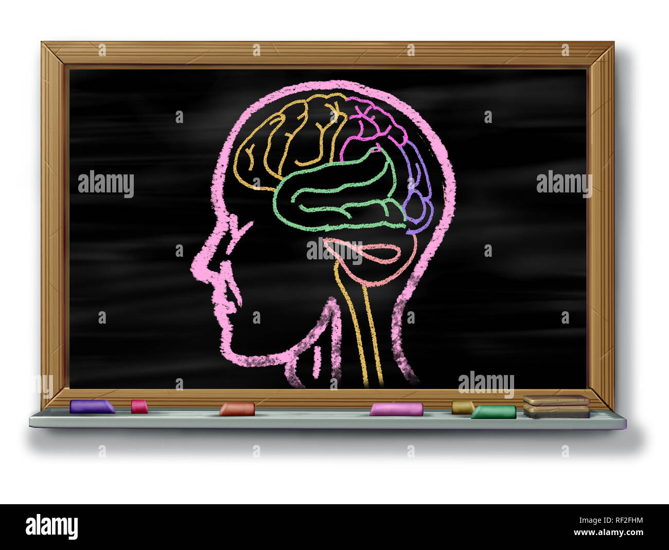 Concept of autism adapted education or autistic development disorder as an icon of a communication and social behavior psychology as a chalk drawing. - Stock Image