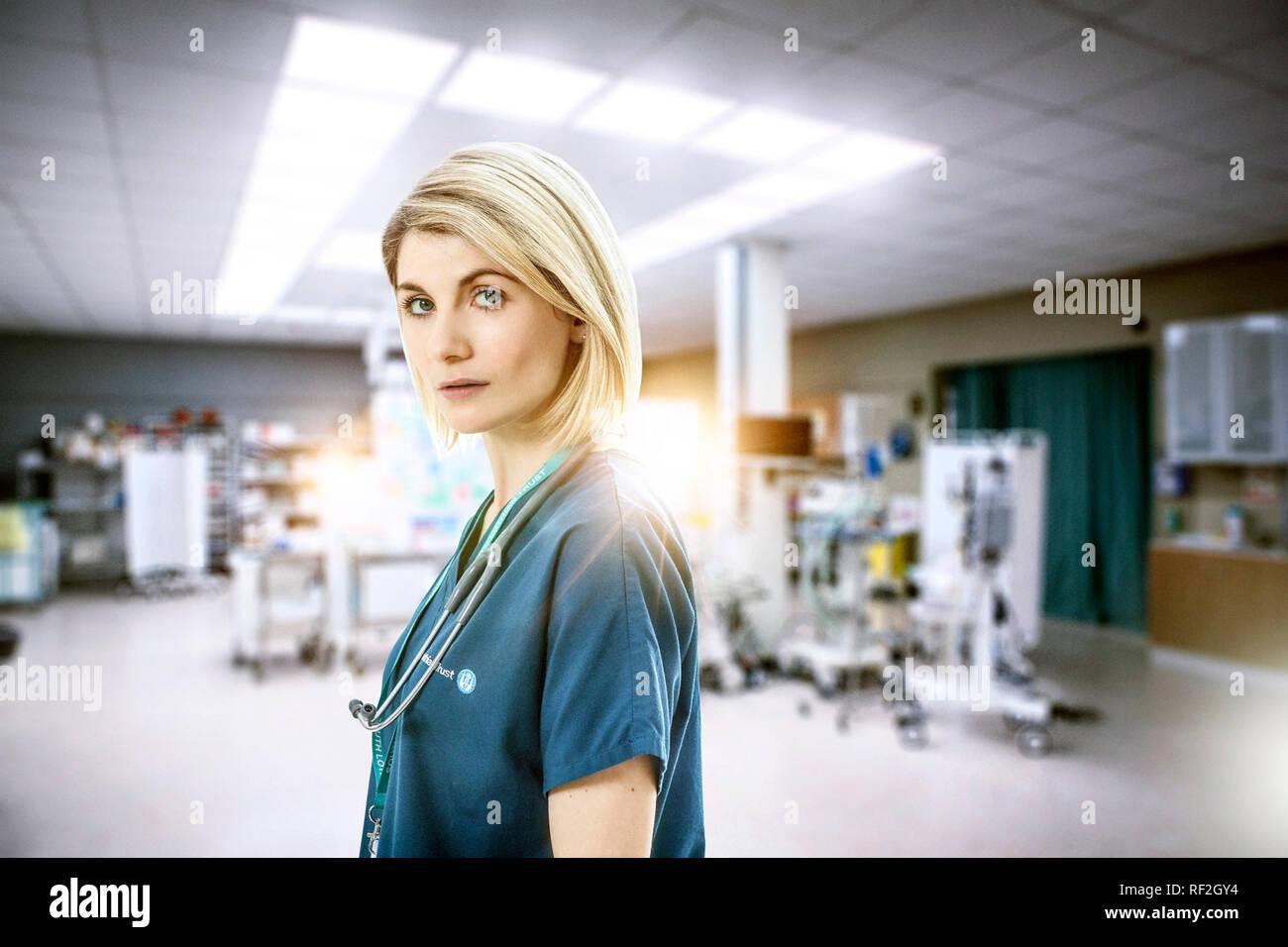 Prod DB © Mark Mainz - BBC One - Red Production Company / DR SECRET MEDICAL TRUST ME mini serie TV creee par Dan Sefton 2017- GB saison 1 Jodie Whittaker. femme chirurgien; doctoresse; femme docteur; surgeon woman; doctor - Stock Image