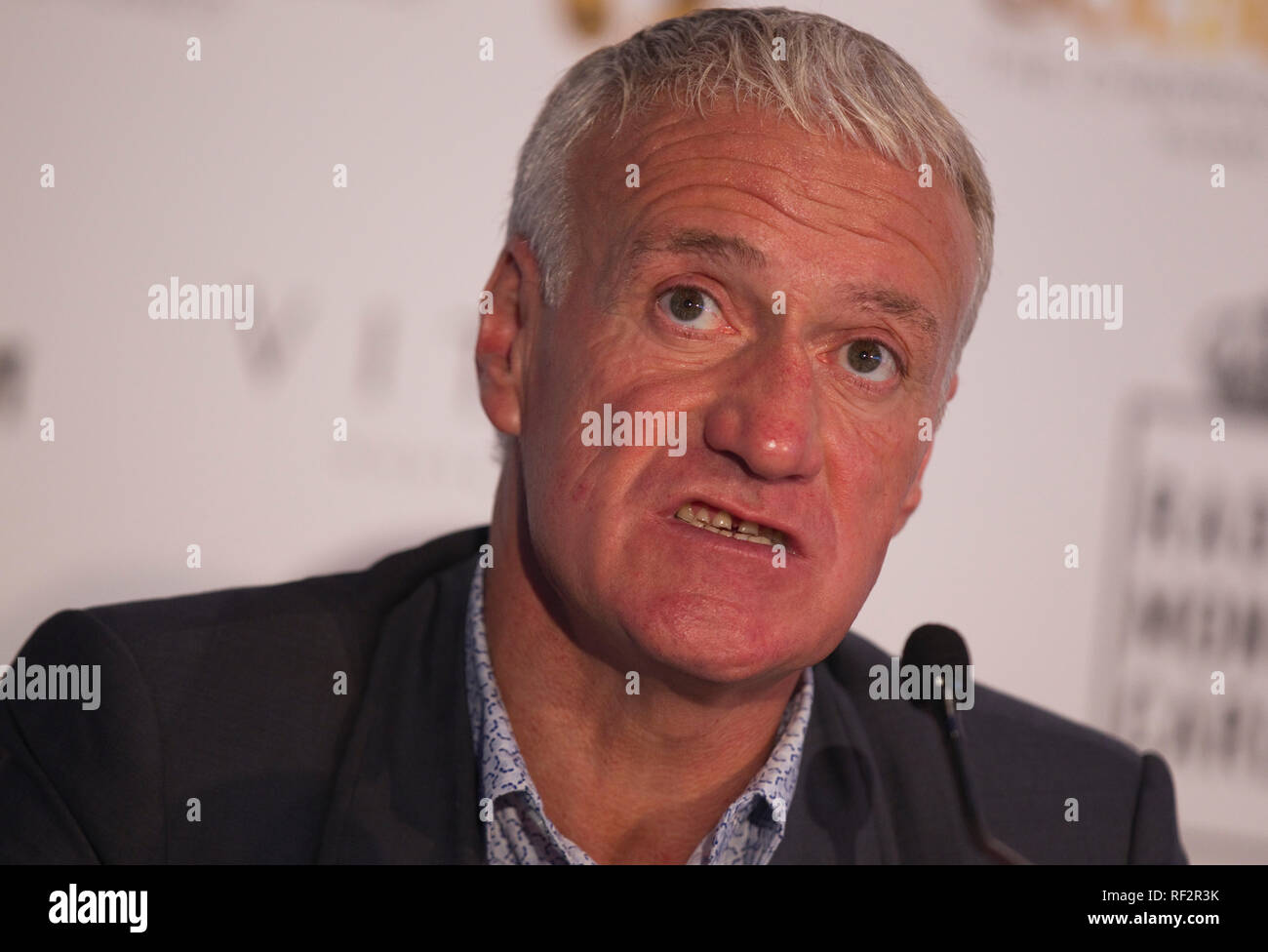 Monaco, Monte Carlo - October 29, 2018: Goldenfoot, The Champions Promenade Award Press Conference with Didier Deschamps. Golden Foot, Awards, Soccer, Fussball, Fussballer, Sport, Sportler, - Stock Image