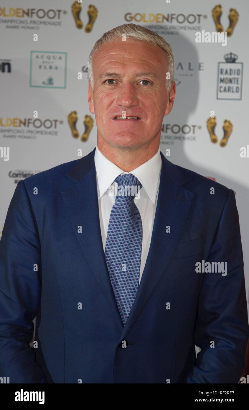Monaco, Monte Carlo - October 30, 2018: Goldenfoot, The Champions Promenade Award Gala with Didier Deschamps. Golden Foot, Awards, Soccer, Fussball, Fussballer, Sport, Sportler, - Stock Image