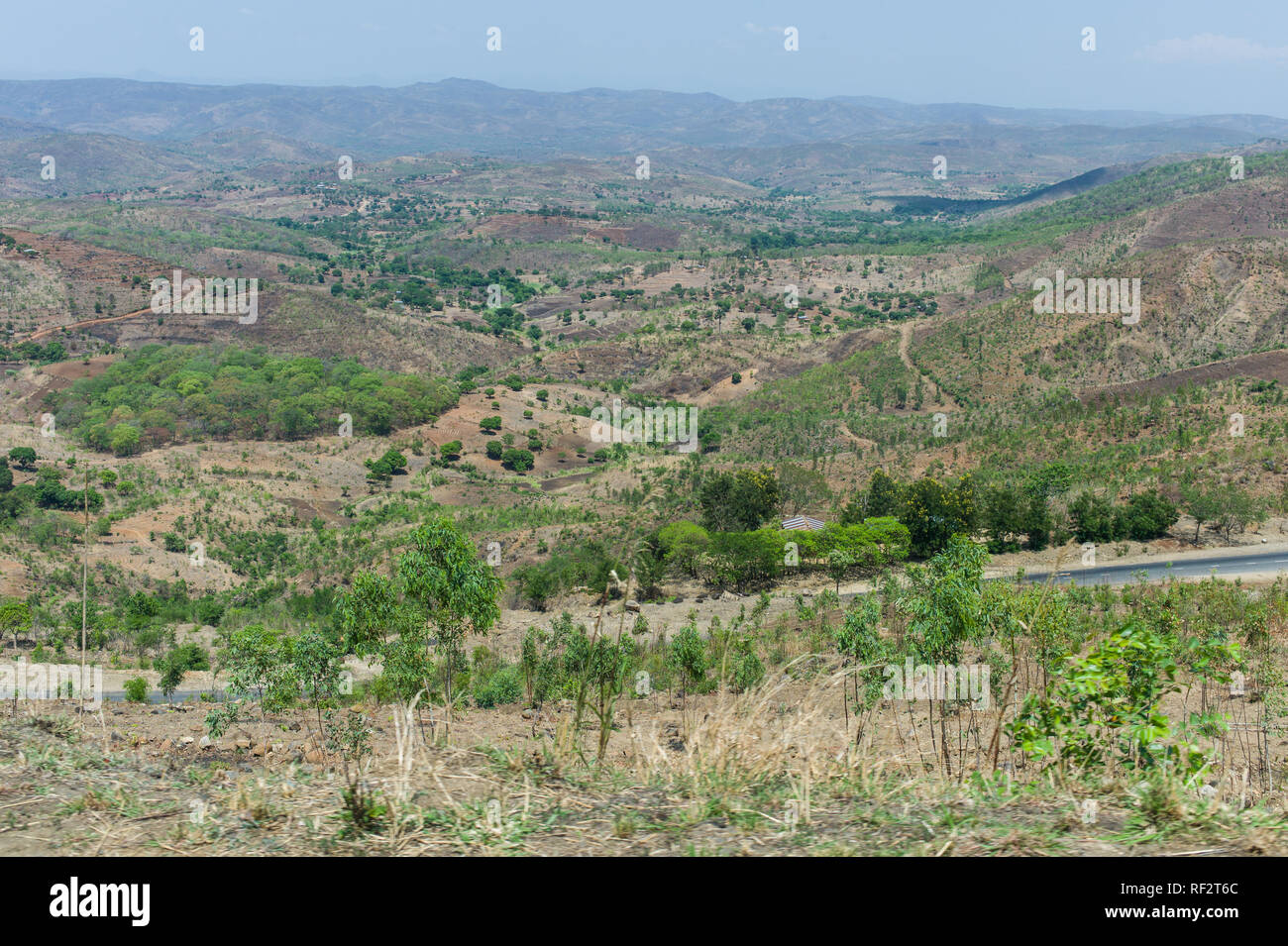 Malawi is a densely populated country with a high land transformation as indicated in this landscape showing small-holder plots and plantations - Stock Image