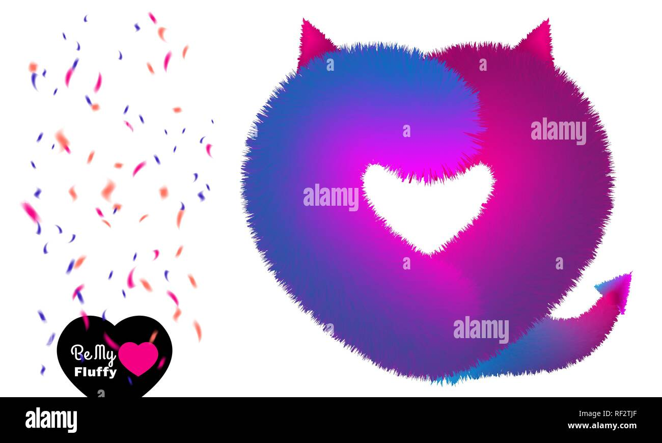 Cute Valentine post card with violet pink fluffy devil like heart - Stock Vector