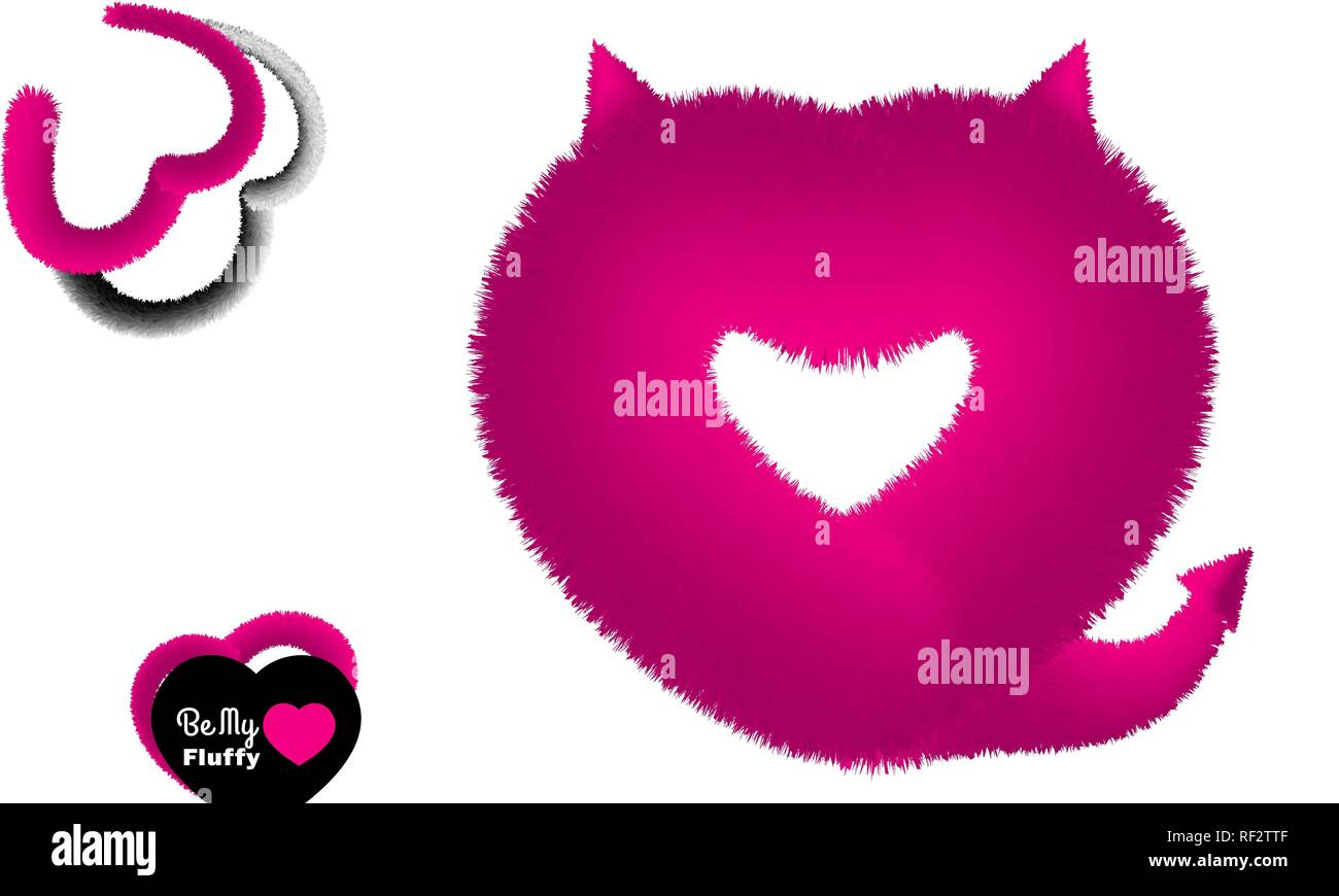 Cute Valentine post card with pink fluffy devil like heart - Stock Vector