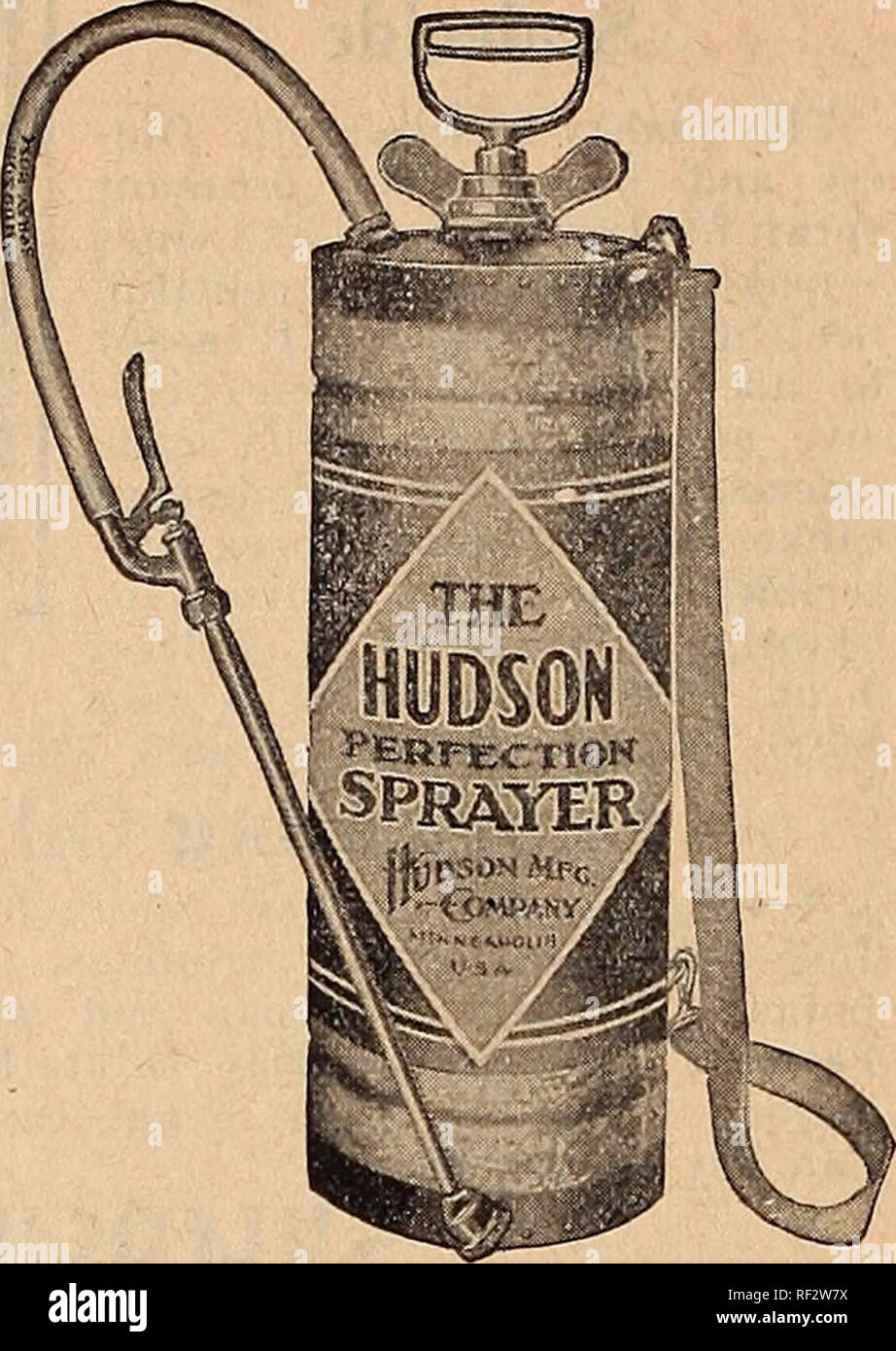 . [Catalog]. Nurseries (Horticulture) Tennessee Memphis Catalogs; Nursery stock Tennessee Memphis Catalogs; Flowers Tennessee Memphis Catalogs; Vegetables Tennessee Memphis Catalogs; Fruit Tennessee Memphis Catalogs; Gardening Tennessee Memphis Equipment and supp. HUDSON SPRAY PUMPS Hudson Perfection Sprayer For work of any kind re- quiring a high pressure com- pressed air sprayer, the Per- fection is supreme. It pro- vides an easy and economi- cal means of whitewashing, cold water painting, disin- fecting, etc. It is very prac- tical for use around the orchard, barn, or outhouse; on truck far - Stock Image