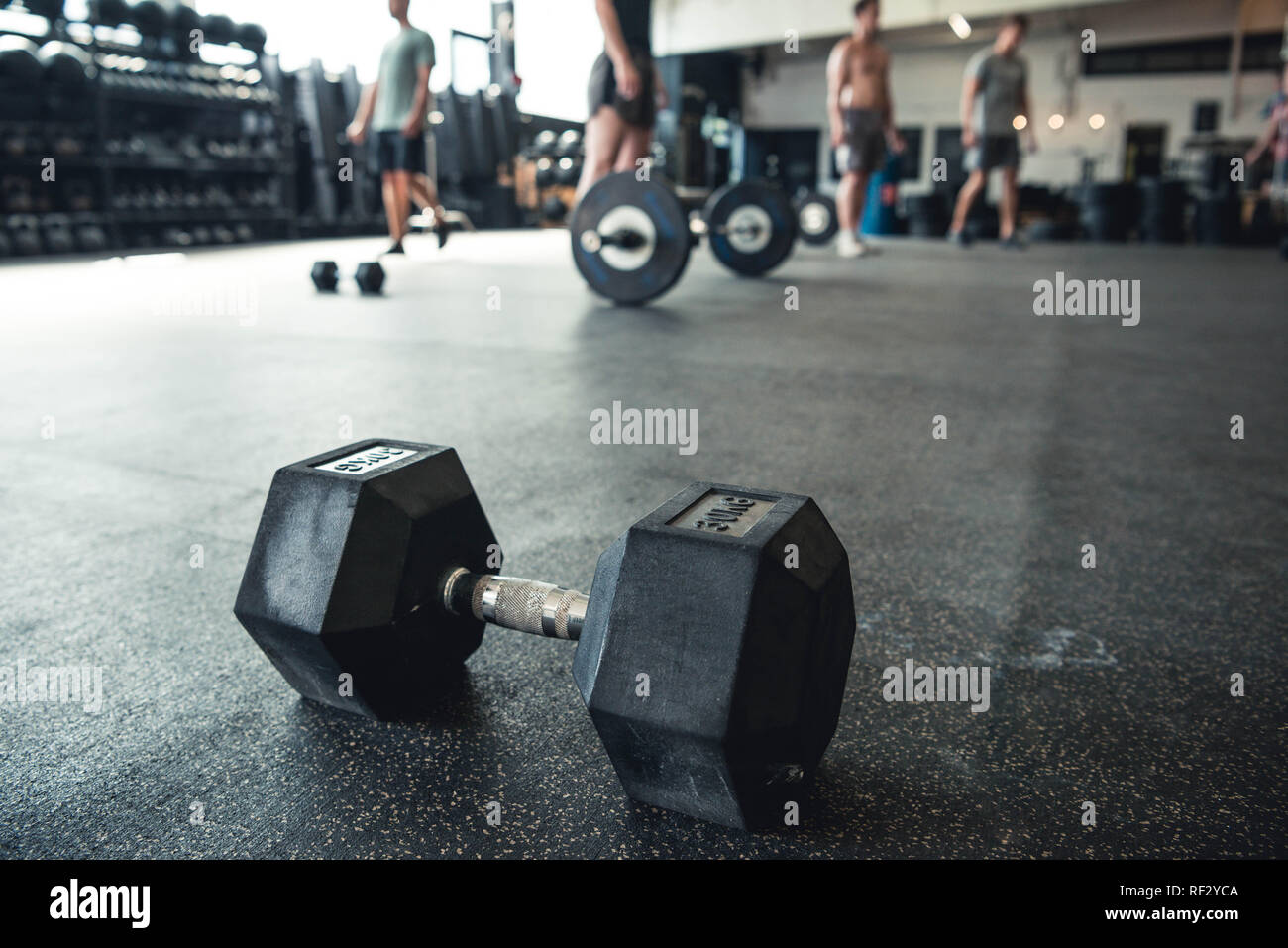 Authentic photos of men and women working out in gym setting. Gym equipment being used. - Stock Image