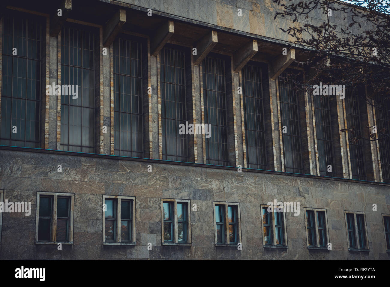 Berlin, Germany November 12, 2018: Architectural details of the historic Tempelhof Airport in Berlin, Germany. - Stock Image