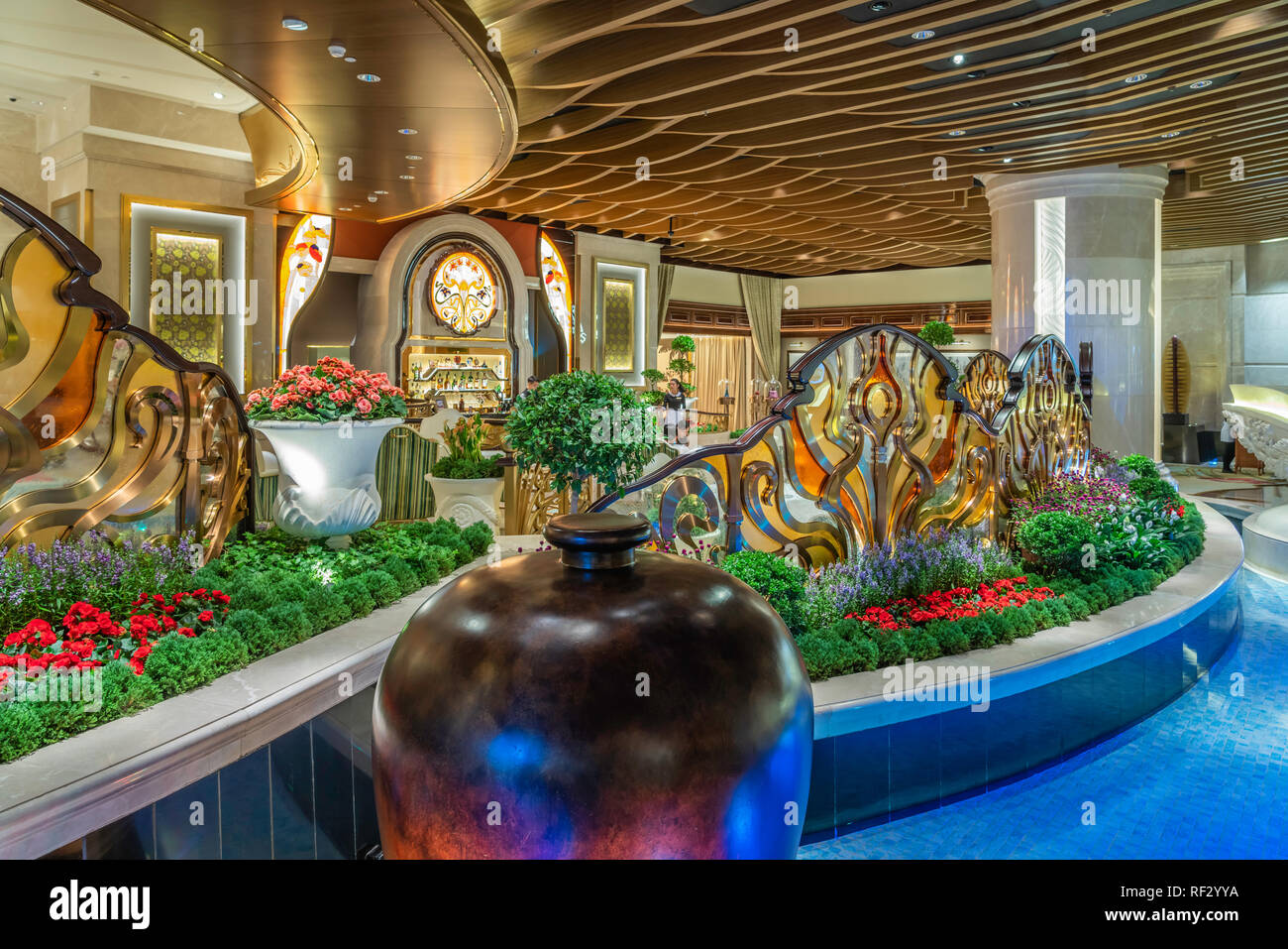 Interior design of the hotel lobby in the Galaxy Hotel and Casino in Macau, Asia. - Stock Image