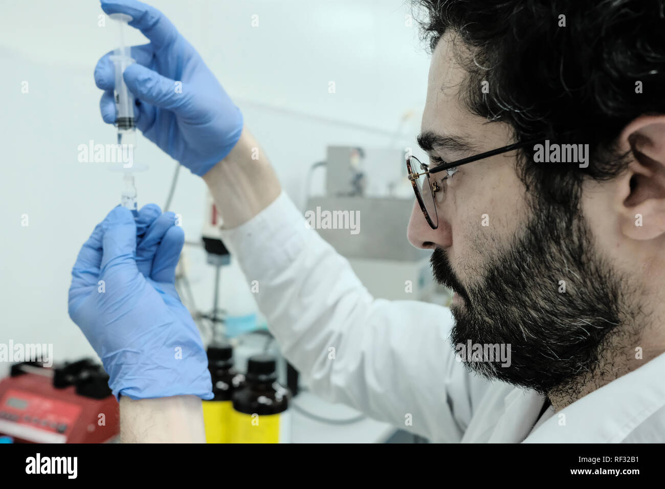 Lod, Israel. 23rd January, 2019. Panaxia Pharmaceutical Industries provides pharmaceutical grade smokeless Cannabis products and delivery systems for patients and physicians, modernizing the medical field utilizing the properties and benefits of medical Cannabis while boasting over 20 percent of the workforce dedicated to research and development. Israel is considered a global leader in medical cannabis research and innovation and is one of only three countries in the world where cannabis research is sponsored by the government. Credit: Nir Alon/Alamy Live News - Stock Image