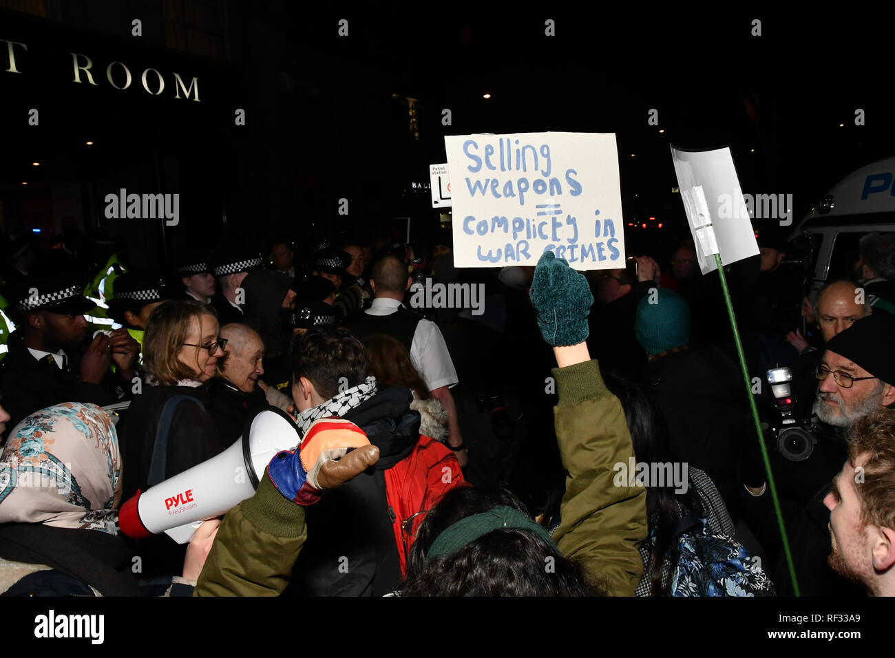 London, UK. 23rd January, 2019. Campaign Against Arms Trade protests against Arms dealers feast while Yemen is starved banking in on the suffering and daying and dead of Yemenis children and babies. Sitin at the Grosvenor House Hotel on 23 Feb 2019, London, UK. Credit: Picture Capital/Alamy Live News Stock Photo