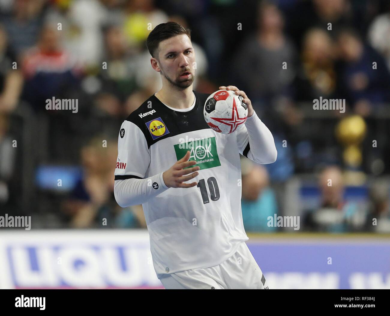 firo: 23.01.2019, Handball: World Cup World Cup Main Round Germany - Spain 31:30 single action, Fabian, Wiede, GER   usage worldwide - Stock Image