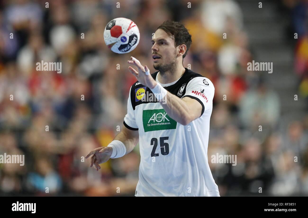 firo: 23.01.2019, Handball: World Cup World Cup Main Round Germany - Spain 31:30 single action, Kai Hafner, GER   usage worldwide - Stock Image