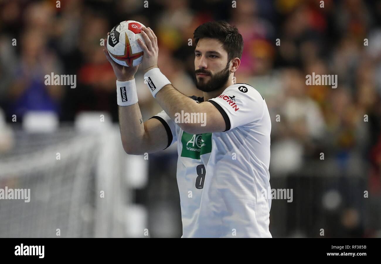 firo: 23.01.2019, Handball: World Cup World Cup Main Round Germany - Spain 31:30 Single Action, Tim Suton, GER   usage worldwide - Stock Image