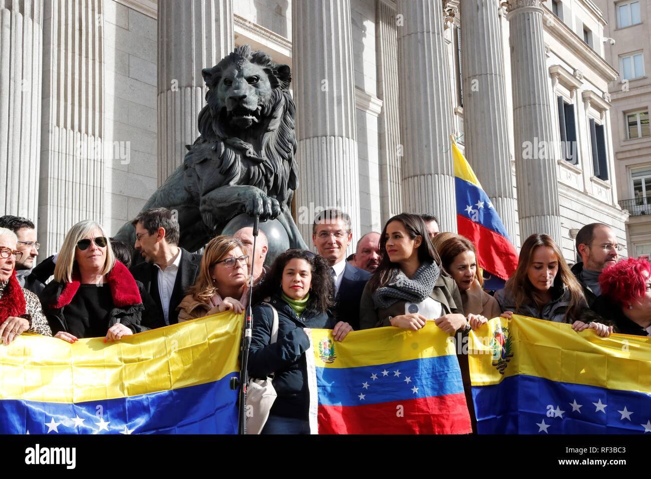 Venezuelan citizens gather in front of the Spanish Parliament's Lower Chamber one day after Juan Guaido, President of the Venezuelan Parliament, proclaimed himself the country's interim president, in Madrid, Spain, 24 January 2019. Rivera and Lopez Gil previously submitted before the Lower Chamber an initiative to ask Pedro Sanchez's Government to recognize Juan Guaido as the legitimate chief of State of Venezuela. EFE/ Zipi - Stock Image