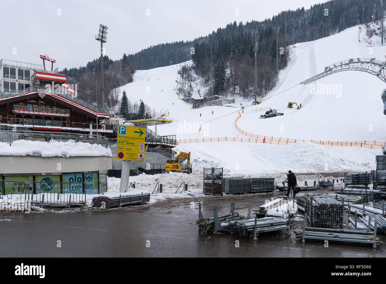 Schladming, Styria, Austria. 24th Jan, 2019. Construction works on Planai Stadium befor The Nightrace in Schladming, Men's World Cup Night Slalom 29.01.2019 - 22nd Night Slalom on the Planai, Austria Credit: Tomasz Koryl/Alamy Live News - Stock Image