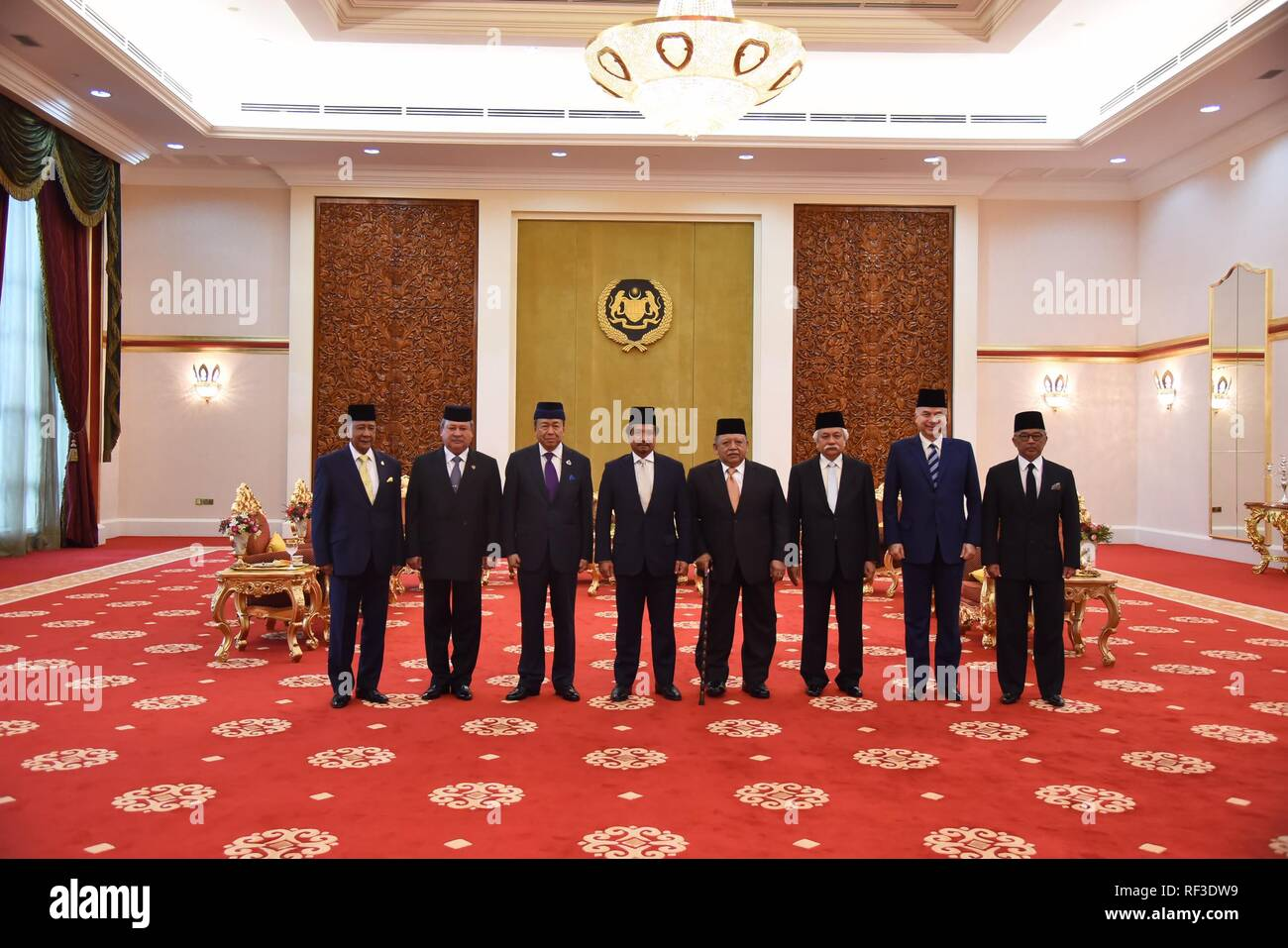 Kuala Lumpur, Malaysia. 24th Jan, 2019. Participants of Malaysia's Conference of Rulers pose for photos at Istana Negara (National Palace) in Kuala Lumpur, Malaysia, Jan. 24, 2019. Malaysia's Conference of Rulers on Thursday named Sultan Abdullah Sultan Ahmad Shah as the country's 16th king, who serves as the constitutional head of state, state news agency Bernama reported. Credit: Jabatan Penerangan Malaysia/Xinhua/Alamy Live News - Stock Image
