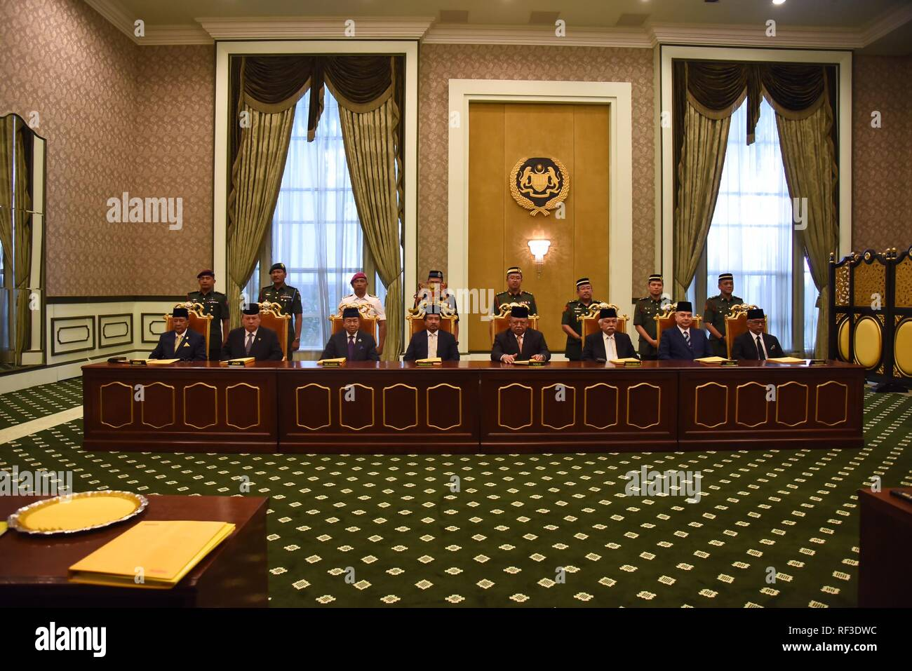 Kuala Lumpur, Malaysia. 24th Jan, 2019. Malaysia's Conference of Rulers is held at Istana Negara (National Palace) in Kuala Lumpur, Malaysia, Jan. 24, 2019. Malaysia's Conference of Rulers on Thursday named Sultan Abdullah Sultan Ahmad Shah as the country's 16th king, who serves as the constitutional head of state, state news agency Bernama reported. Credit: Jabatan Penerangan Malaysia/Xinhua/Alamy Live News - Stock Image