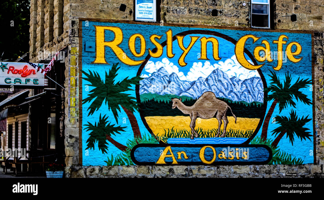 Downtown Roslyn, WA. USA - Stock Image
