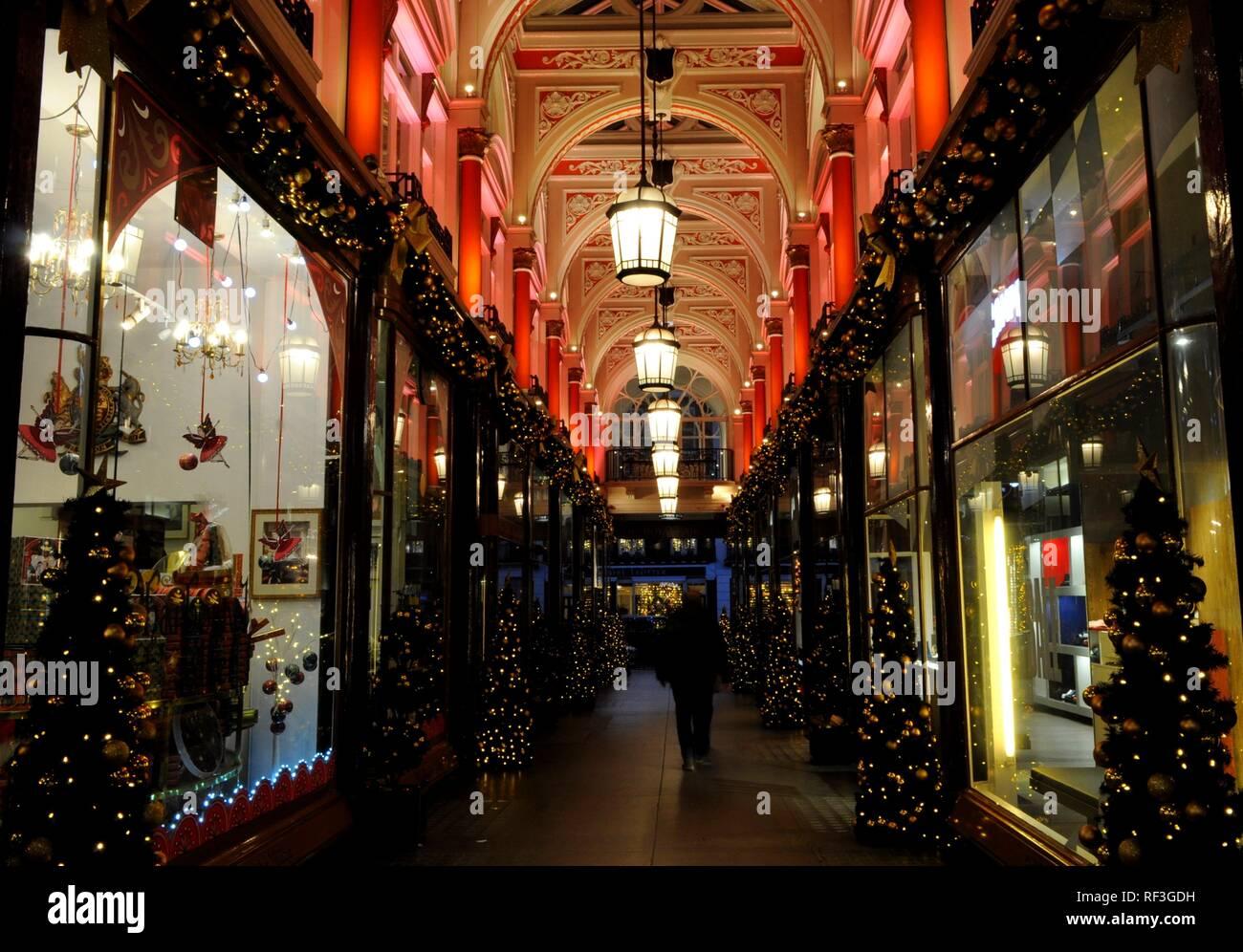 Royal Arcade at Christmas, London, UK. - Stock Image