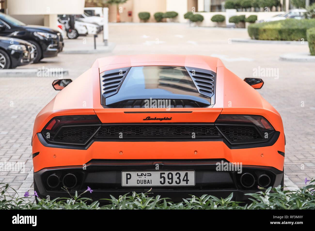 Dubai Uae January 08 2019 Orange Lamborghini Huracan Outside