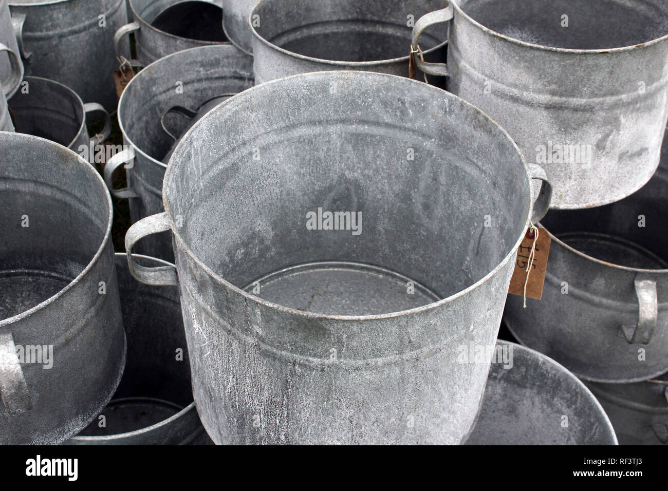 Galvanized containers - Stock Image