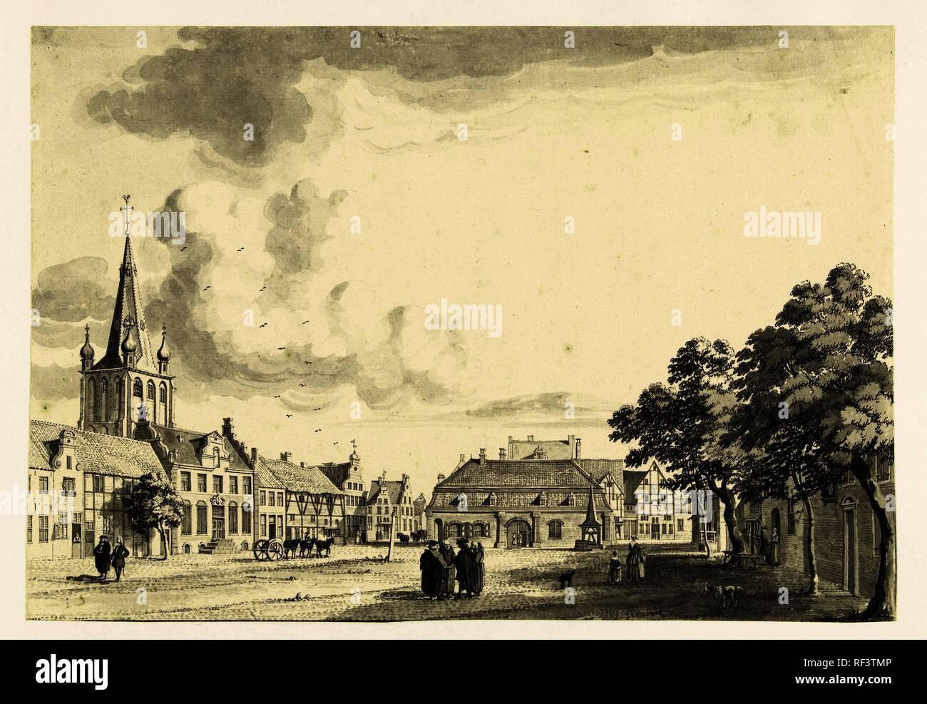 View of Uerdingen market. Draughtsman: Jan de Beijer. Dating: 1739. Measurements: h 205 mm × w 297 mm. Museum: Rijksmuseum, Amsterdam. - Stock Image
