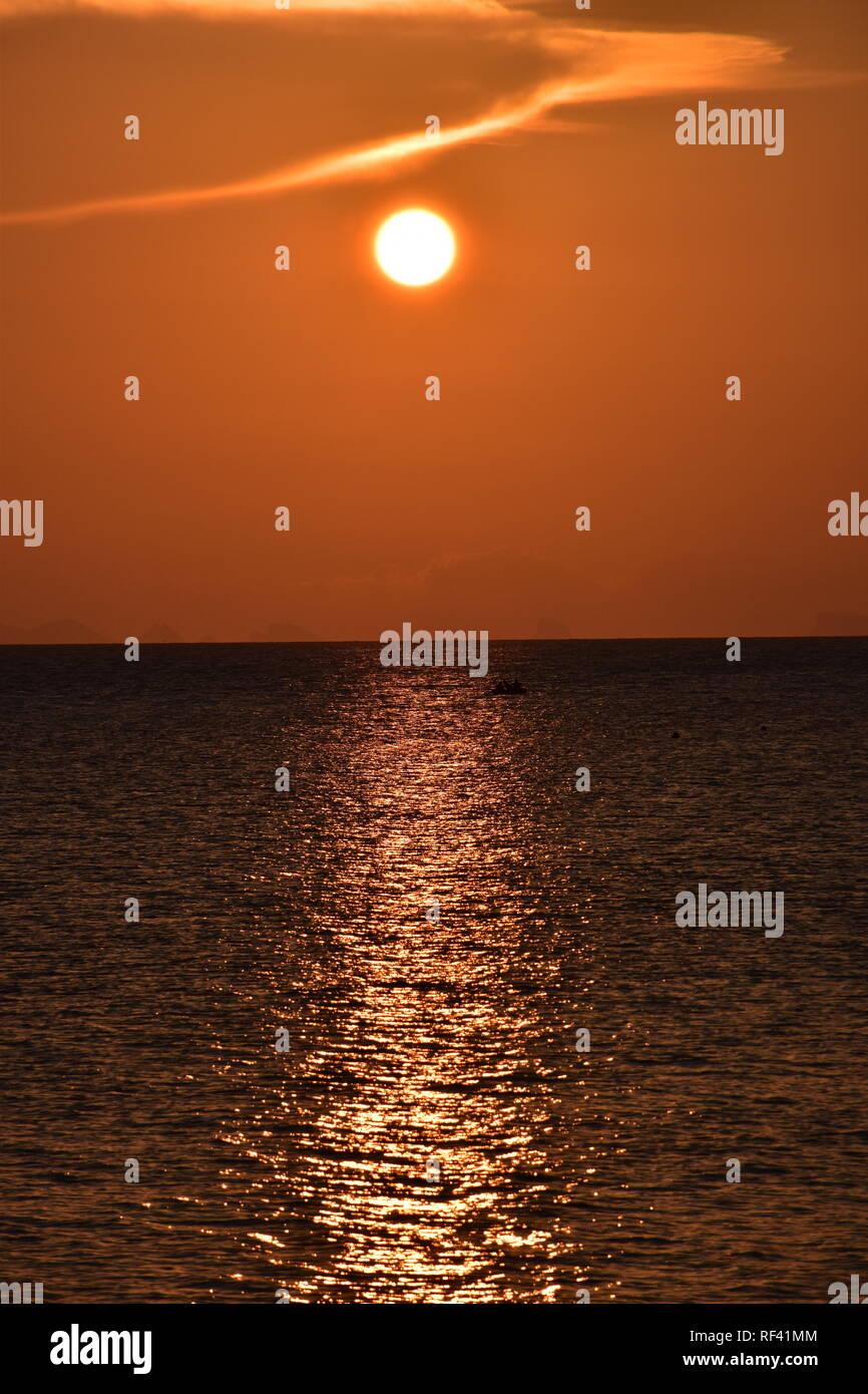 Beautiful Sunpath at the waters of Koh Phangan - Stock Image