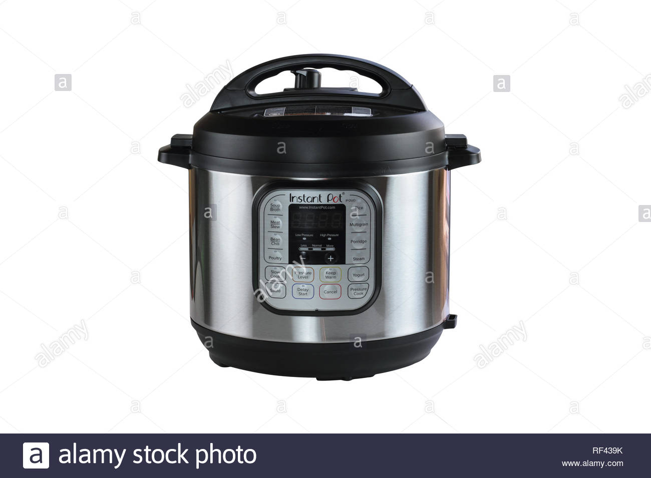 Breeding, KY, USA - January 08, 2019: Instant Pot pressure cooker isolated over white background with clipping path included. - Stock Image