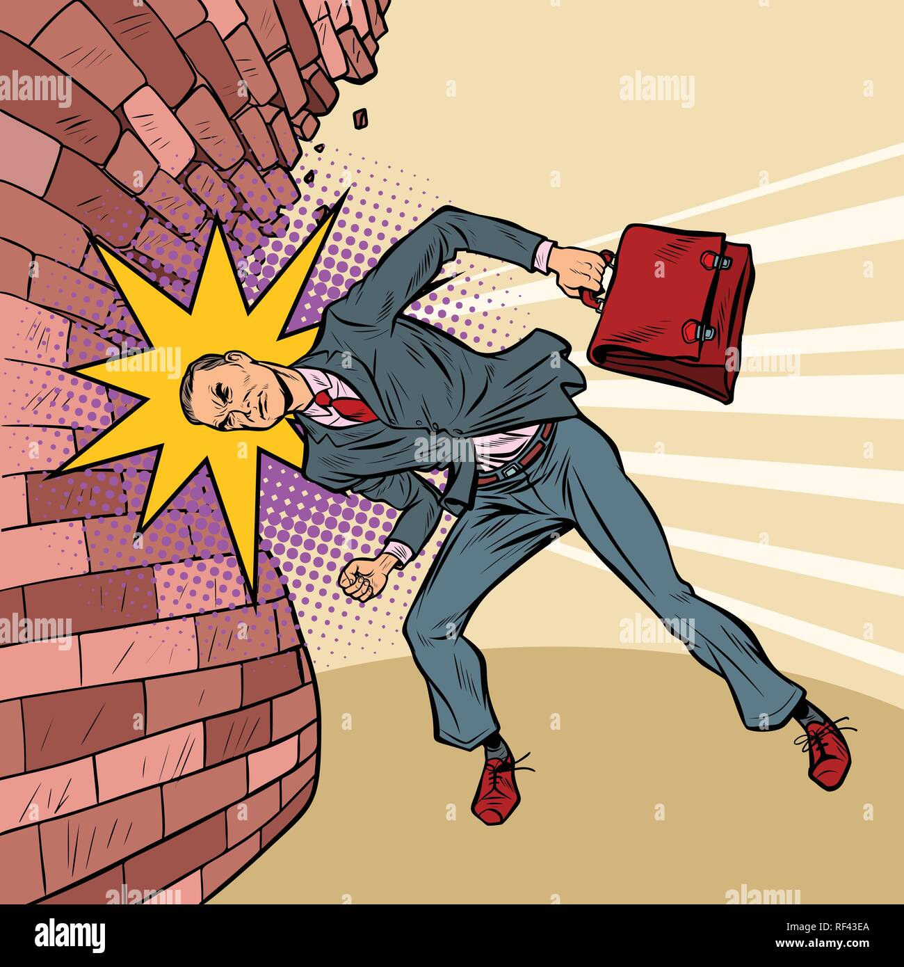 businessman breaks the wall with his head - Stock Vector