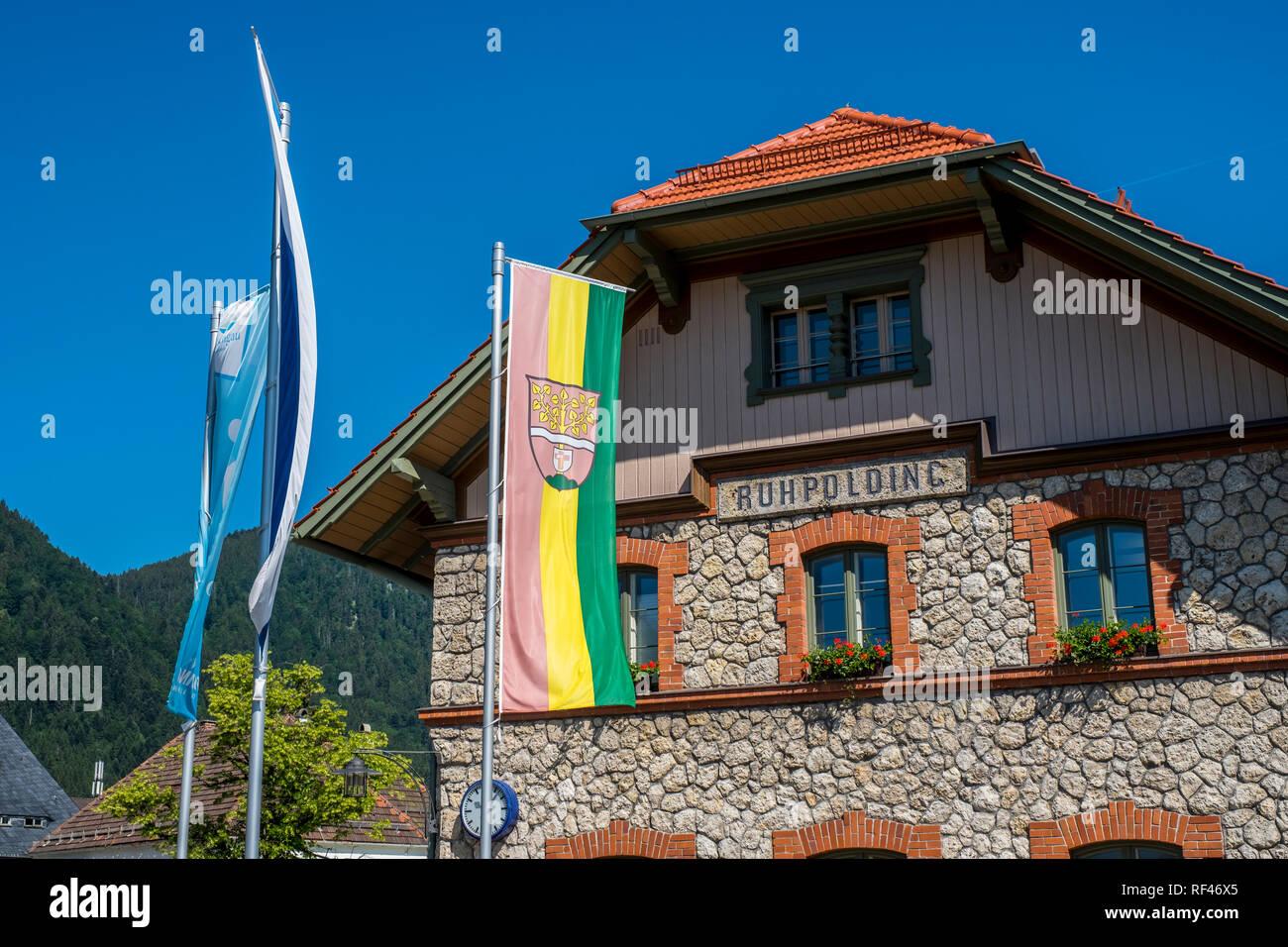 Ruhpolding train station, Upper Bavaria, Germany, Europe - Stock Image