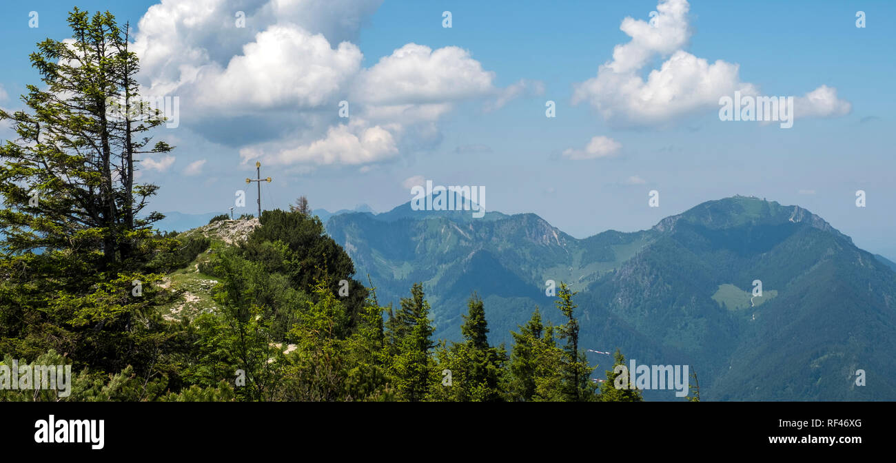 The summit cross of the 5482 foot Rauschberg, Upper Bavaria, Germany, Europe - Stock Image