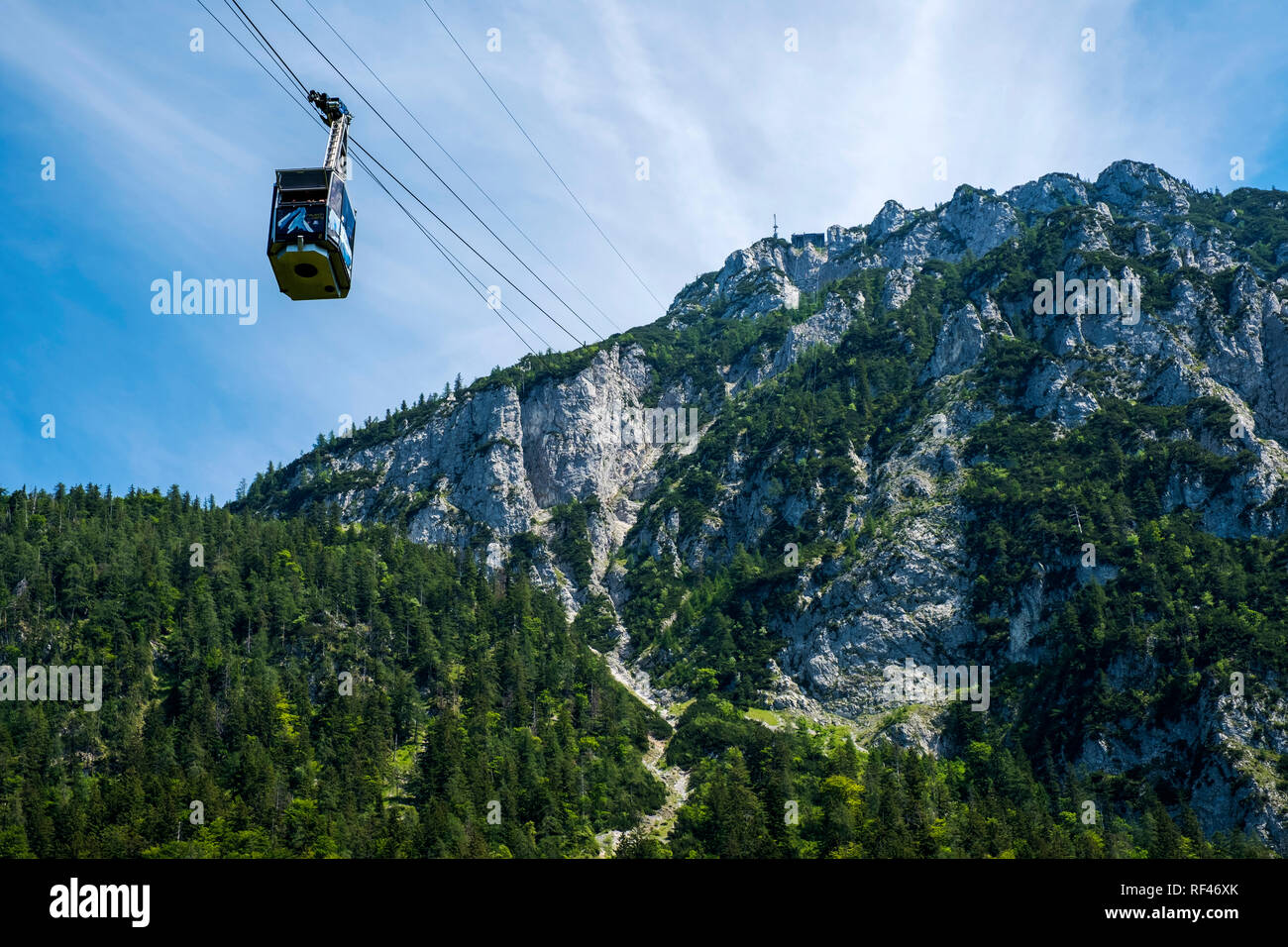 The cable car up to the 5482 foot Rauschberg, Upper Bavaria, Germany, Europe - Stock Image