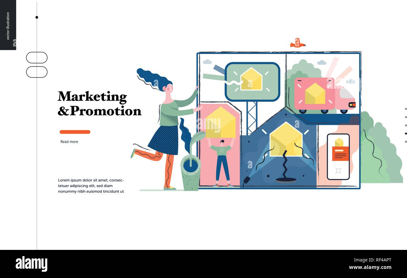 Technology 1 -Marketing and Promotion modern flat vector concept digital illustration marketing metaphor, company brand promotion. Business workflow m - Stock Image