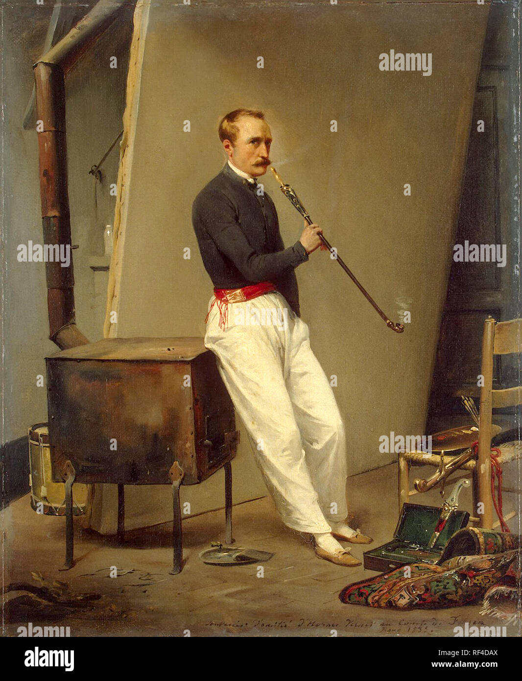 Horace Vernet, Self-Portrait with Pipe, 1835. Émile Jean-Horace Vernet (1789 – 1863) French painter - Stock Image
