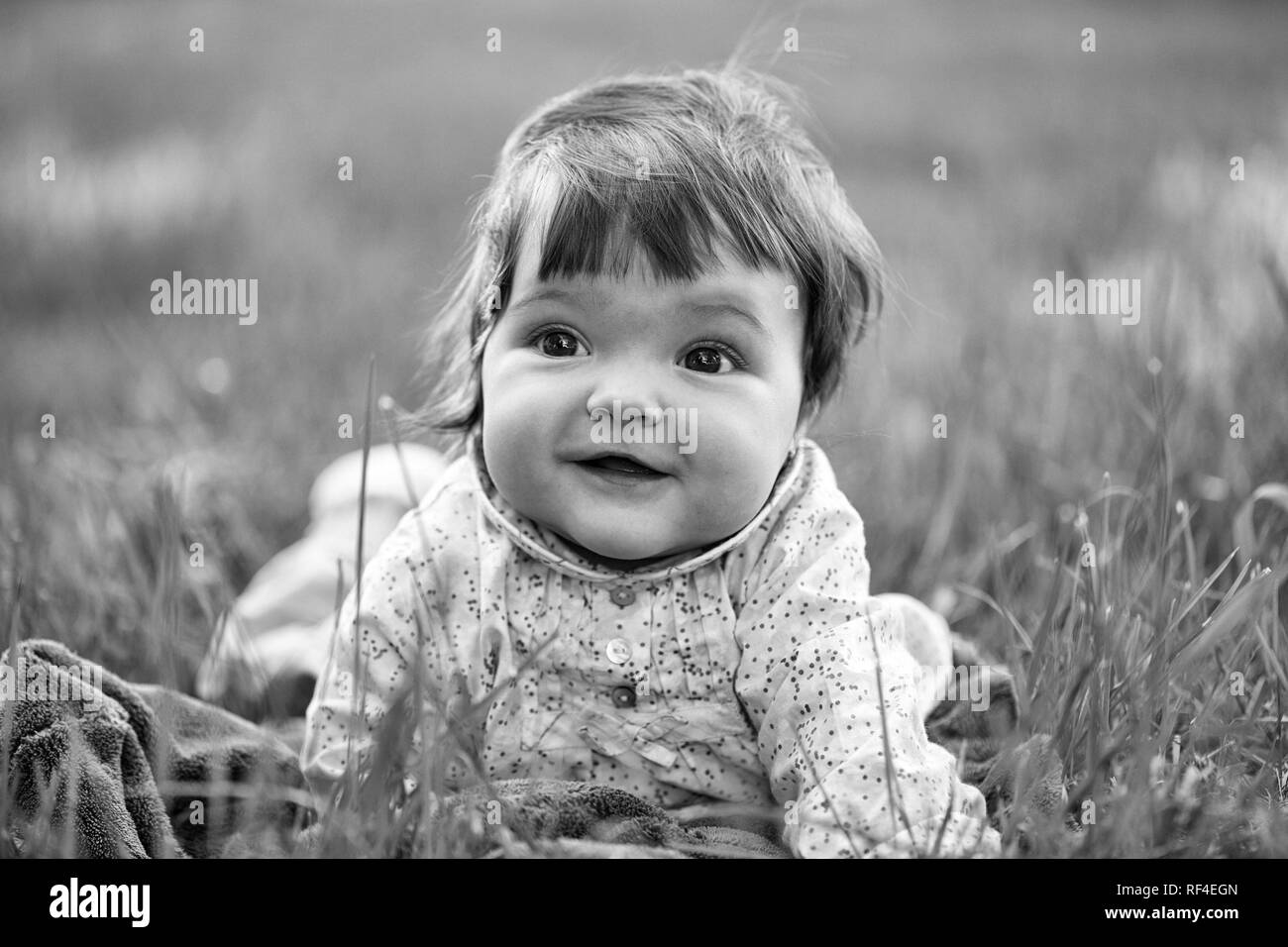 Cute baby girl on green grass - Stock Image